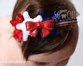 4th of July Headband / baby headband / adjustable Headband / newborn headband / stars headband / chiffon flowers