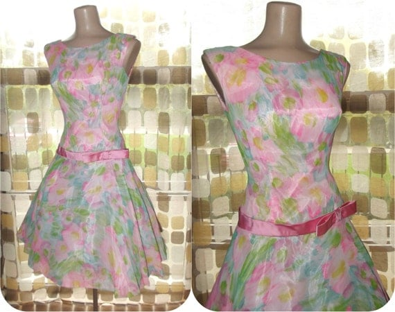 reserved for vintage4700- Vintage 50s 60s PINK Chiffon Floral Full Sweep Party Dress Cocktail Swing Dance Small