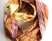 Cotton Infinity Scarf:  100% Cotton Scarf, Yellow, Brown and Pink color ways, multi-pattern