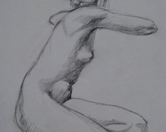 Seated Female Figure I, original charcoal drawing, figure drawing, woman, life drawing