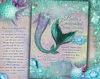 Mermaid, Mermaid Invitations, Mermaid Party, Mermaid Pool Party, Mermaid Birthday Party Invitation, Mermaid Quince Anos, Sweet 16 Pool Party