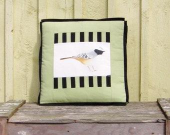 Pillow The Chirper Bird Illustration Square Box Cushion 20 x 20 x 3 Ornithology Unique Art Decorative accessory Green Black White Drawing