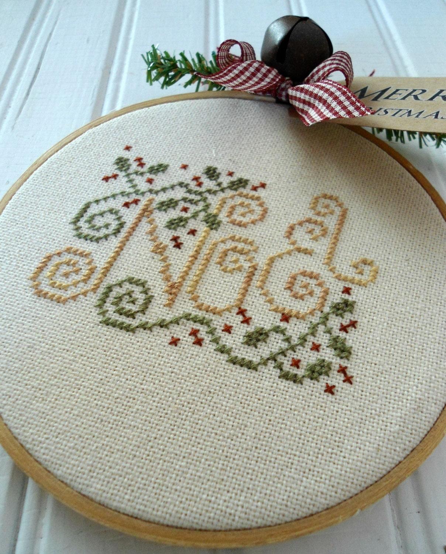 Noel Merry Christmas Embroidery Hoop Art Wall Hanging