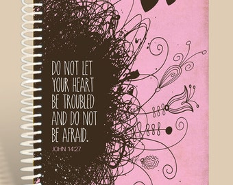 Personalized Prayer Journal / Do Not be Afraid / Pink journal / Lined notebook/