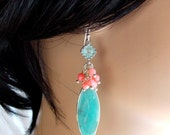 Smithsonite Marquis Sterling Silver Bezel Set Coral Cluster Earrings Dangle Aqua Blue and Coral Drops