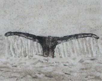 Sounding Number 2 whale tail sand painting 5x7 whale watch sea coast seascape marine animal mammal art original art work