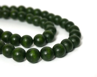 Forest Green round wood beads, 12mm, eco-friendly wooden beads (907R)