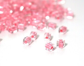 4mm square glass beads,  clear with pink color lined hole, Miyuki cubes, 200 beads (1022SB)