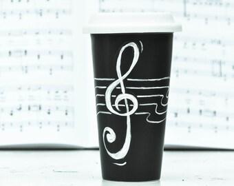 Music Lover Coffee Travel Mug -  Eco-Cup - Treble Clef Mug - Black Silicon Lid - musician gift