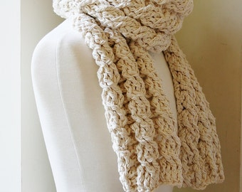 Crochet Scarf Pattern, Womens Cable d Scarf Pattern, Crochet Pattern ...
