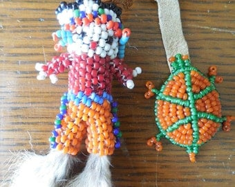 Native American Beaded Leather Fetish Doll & Turtle
