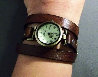 Birthday Gift For Her-Leather Jewelry-Gift For Friend-Anniversary Gifts-Girlfriend Gifts-Ladies Watch-Gift Women-Brown Leather Watch