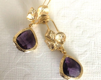 Dangle earrings Spring fashion Preppy jewelry Matt gold 3 leafs with amethyst fancy drop, Bridesmaid gift, Office fashion, Wedding party