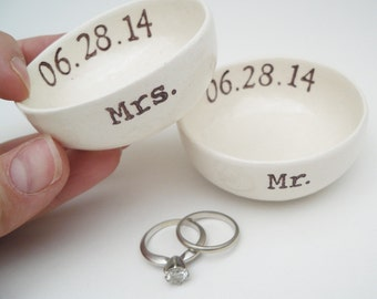 MR and MRS WEDDING ring dish bridal shower gift idea wedding gift wedding ring holder custom ring pillow personalized custom wedding date