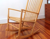 Hans Wegner J16 Beech Wood Rocking Chair by Kvist Mobler