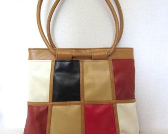 70s Vintage Color Block Bag, Geometric Tote, Mid-Century Purse Handbag