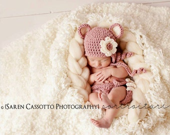 Newborn Outfit, Newborn Set, Newborn Hat and Diaper Cover, Baby Girl Set, Baby Girl Monkey Hat, Country Pink with Cream Ears. Photo Props.