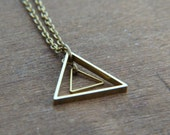 Triange Necklace - Geometric Necklace - Brass Geo Necklace - Modern Geometric Jewelry - Minimalist Jewelry - Nesting Triangles
