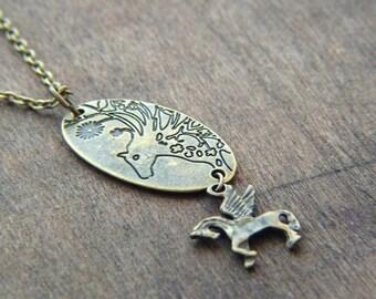 Horse Necklace - Horse Charm Necklace - Pegasus Necklace - Brass Winged Horse - Fairytale Necklace - Fantasy Jewelry - Unique Necklace