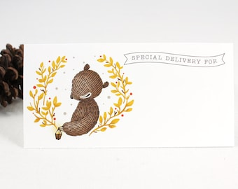 10 Mailing Labels - Bear Wreath