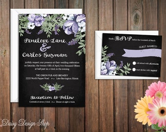 Wedding Invitation - Chalkboard and Watercolor Flowers - Invitation and RSVP Card with Envelopes