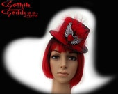 Black Valentines Mini Top Hat with Winged Heart and Red Feathers