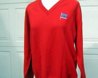 "Sweater Jumper Vintage 70s V Neck Red Wool  - Australia Flag 45"" Chest - Preppy Perfection"