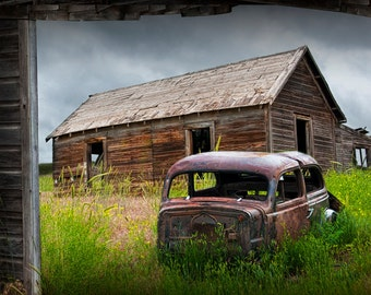 Forlorn Small Abandoned Prairie Farm with Junk Auto Body and Barn Buildings No.5.2 A Fine Art Agricultural Landscape Photograph