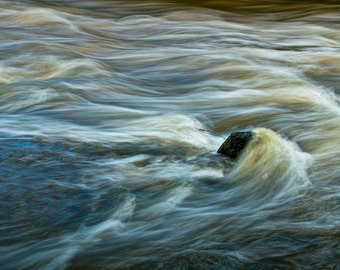 Rock with Flowing Water in the Thornapple River by Alaska Michigan No.159 - A River Abstract Landscape Photograph
