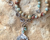 Vintage spoon bowl necklace with semiprecious stones, soldered brass bee pendant with crystal dangling from the top.