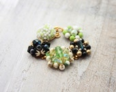 Recycled jewelry.  Vintage earring bracelet . Stunning and one of a kind. Lily Pad.