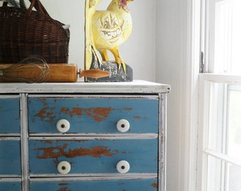 B L U E And White Cabinet 8 drawers