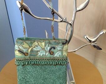Aqua Beaded & Embroidered Evening Bag