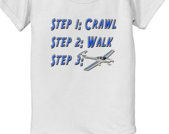short sleeve and long sleeve Steps crawl walk future airplane pilot baby custom bodysuit baby bodysuit, baby shower gift