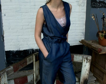 denim overall // wrap front // mid blue // sleeveless