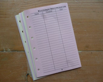 Birthday/Anniversary inserts - Fits Filofax or Organiser - pink and purple - personal/pocket/mini