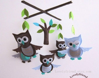 Good Night Winking Owls Mobile - Baby Mobile - Nursery Baby boy crib mobile - blue & brown owls