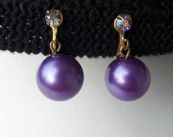 Vintage 60s Earrings Purple Lavender Plastic Ball with Rhinestone Accent Drop Dangle Screw Back