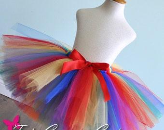 Girls and Adult Rainbow Tutu...Rainbow Circus Tutu, Halloween Rainbow Clown Tutu, Color Fun Run Tutu . . . RAINBOW FUN