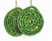 Woven Earrings -Green Raffia Earrings -Hoop Earrings -Fiber Earrings -eco friendly -boho gypsy -free shipping