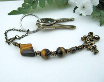 Scissors Fob, Tiger Eye, Antique Brass, Key Fob, Purse Fob, Golden Brown, DIY Crafts, Needlepoint Sewing Quilting Knitting, Gift, Handmade
