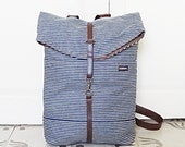 Vegan  Backpack - Rucksack -  Blue Navy Denim- 4 Pockets - Adjustable Straps - Small Size in Cotton Fabric