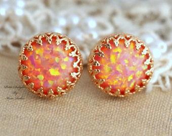 Opal Earrings,Fire Opal Earrings, Gift for her, Christmas Gift, bridesmaids gift, Christmas Gift, Opal Gold Earrings, Orange Stud Earrings