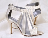 "Wedding Shoes - Vintage Wedding Lace - 3.5"" Heels- Swarovski Crystals - Women's Bridal Shoes, Custom Dyed Colors, The Lorene"