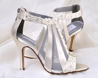 "Wedding Shoes - Vintage Wedding Lace - 3.5"" Heels- Swarovski Crystals - Women's Bridal Shoes, Custom Dyed Colors, The Lorene"