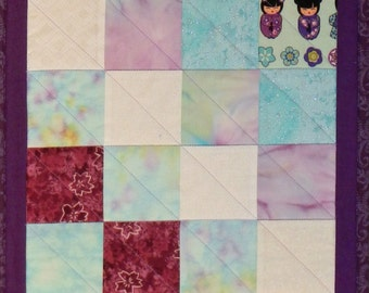Quilted Table Runner, purple Table Runner, Pieced Table Runner, 4741-0, quilted table topper, quilted table decoration