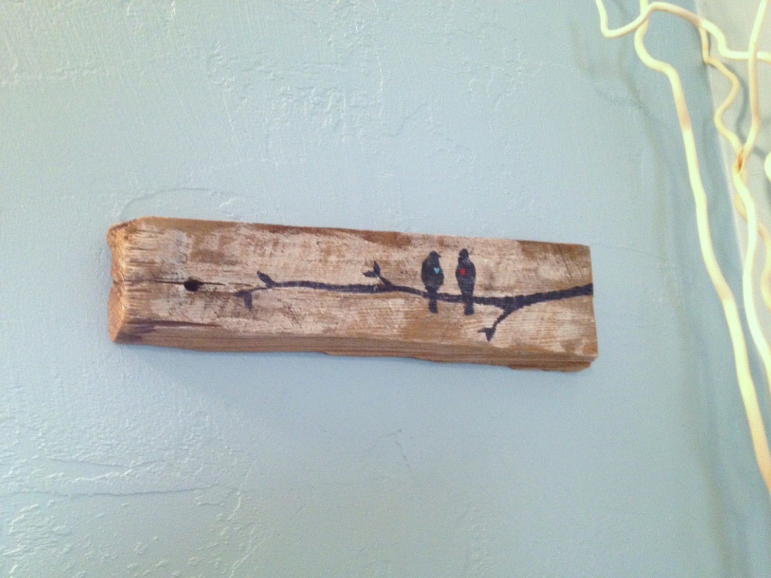 Rustic Wood Boards ~ Love birds on branch rustic upcycled barn board wood wall