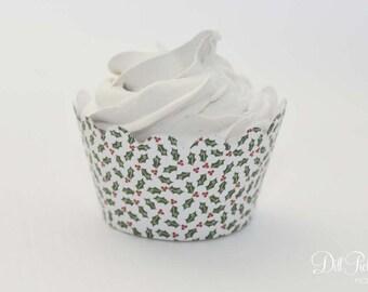MINI Christmas Holly Cupcake Wrappers - Mini Cupcake Wraps Set of 24