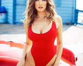 Alabama Red High Hip Thong One Piece Swimsuit