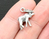 8 Moose Charms Antique  Silver Tone 2 Sided - SC3102